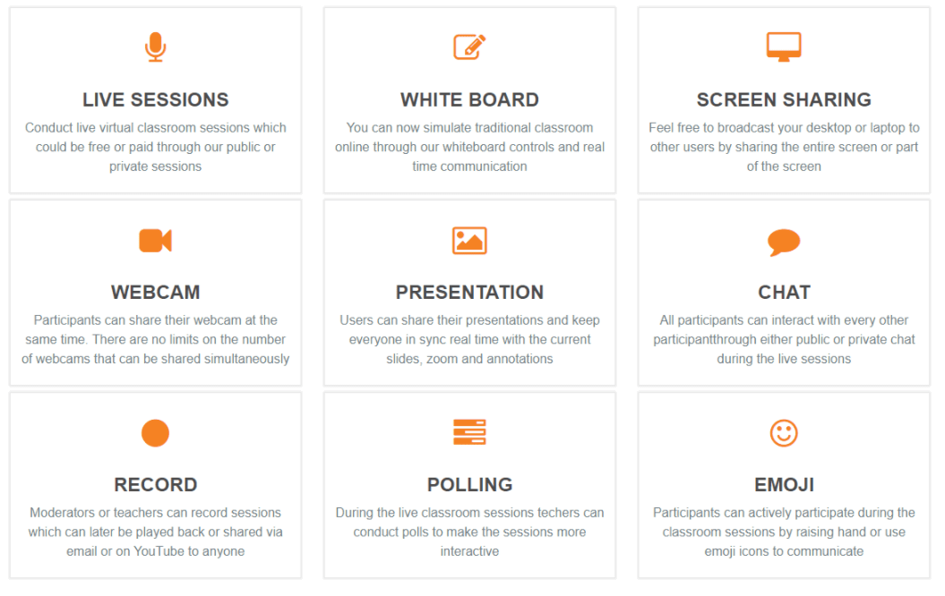WEB CONFERENCING FEATURES